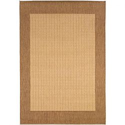 Outdoor Rug in Natural Cocoa with Checkered Center