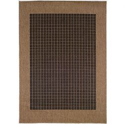 Black Cocoa with Checkered Center Outdoor Rugs