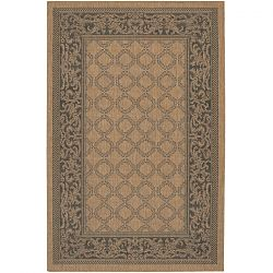 Black and Cocoa Garden Lattice Rug