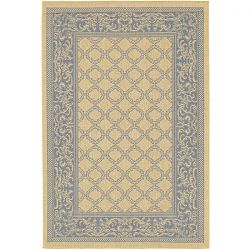 Natural and Blue Garden Lattice Rug