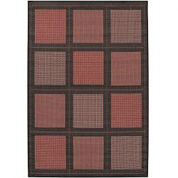 Terra Cotta and Black Pattern Outdoor Rugs