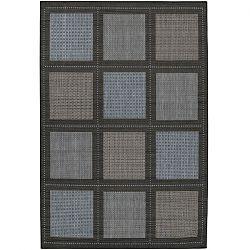 Blue and Black Summit Pattern Outdoor Rugs