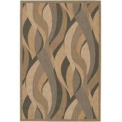 Natural and Black Seagrass Pattern Outdoor Rug