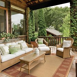 natural and terra cotta rugs - Patio Rugs