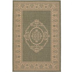 Antique Medallion Green and Natural Rug