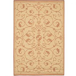 Natural and Terra Cotta Scroll Area Rugs