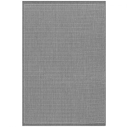 Saddle Stitch Grey and White Outdoor Rug