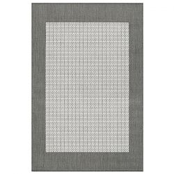 Checkered Field Grey and White Rug