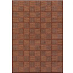 San Marcos Natural and Red Outdoor Rug