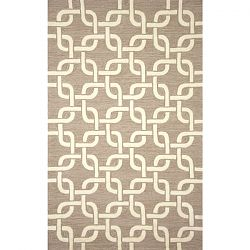 Boxed Natural Chains Pattern Outdoor Rug