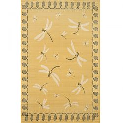 Dragonfly Yellow Outdoor Rug