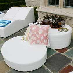 Note and Footnote Patio Floor Pillow and Ottoman