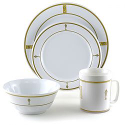 Gold Seafood Pattern Outdoor Dinnerware