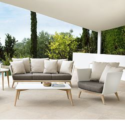 Arc Wicker and Teak Sofa and Chair Collection