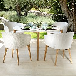 Arc Dining Table and Chairs in White Wicker