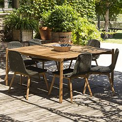 Hamp Wicker and Teak Dining Table and Chairs