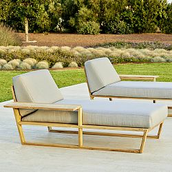 Point Lineal Teak Chaise Lounge