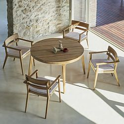 Paralel Round Teak Dining Table and Chairs
