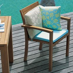 Stackable Teak Patio Dining Arm Chair