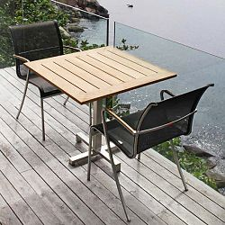 Bistro Table with Folding Teak Top