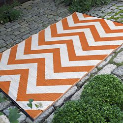Orange Peel and White Outdoor Rug