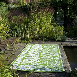 Cream and Green Outdoor Rug