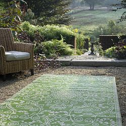 Lime Green and Cream Rug
