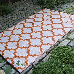 Carrot and White Outdoor Rug