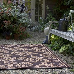 Chocolate Brown and Tan Outdoor Rug