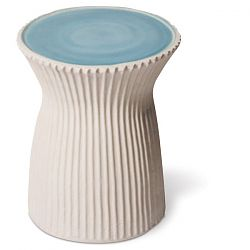 Ceramic Ridged Two Color Outdoor Stool or Table
