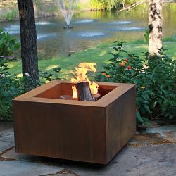 The Mini-Square Weathering Steel Outdoor Fire Pit