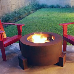 The Mini-Round Weathering Steel Outdoor Fire Pit