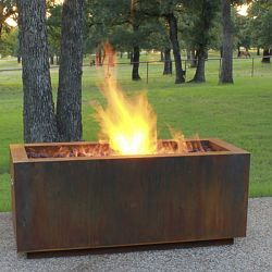 Rectangular Weathering Steel Outdoor Fire Pit