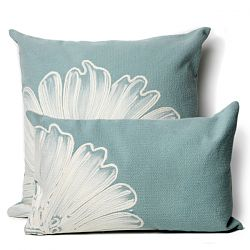 Antique Medallion Aqua Outdoor Pillow