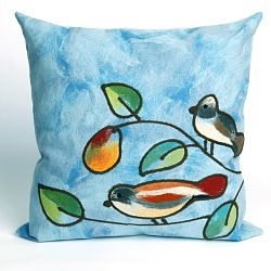Song Birds Blue Outdoor Pillow