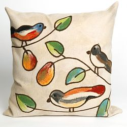 Song Birds Cream Outdoor Pillow