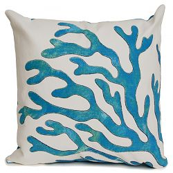 Coral Blue Outdoor Pillow