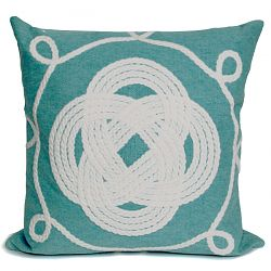 Ornamental Knot Aqua Outdoor Pillow