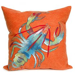 Lobster Orange Outdoor Pillow