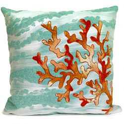 Coral Wave Aqua Outdoor Pillow