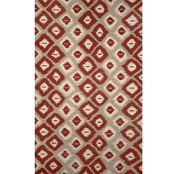 Ikat Diamonds Red Rug