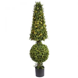 Boxwood Ball and Cone with LED Lights
