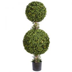 Boxwood Double Ball with LED Lights