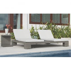 Pacific Double Wide Chaise in Silver Wicker