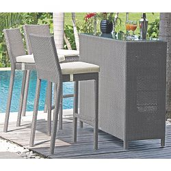 Pacific Silver Wicker Bar and Stools