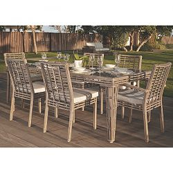 Topaz Dining Table and Chairs in Gray Wicker