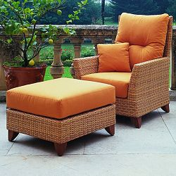 Rausch Outdoor Wicker Lounge Chair & Ottoman