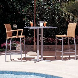Rausch Glass Top Outdoor Bistro Table and Outdoor Bar Stools