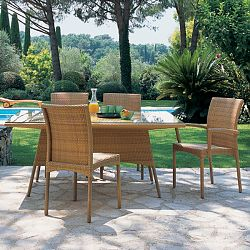Rausch Outdoor Wicker Beach Club Dining Table