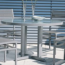 Rausch Aluminum Long Beach Round Outdoor Dining Furniture Table
